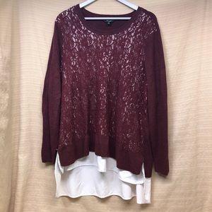 Simply Vera Layered Lightweight Sweater Blouse EUC